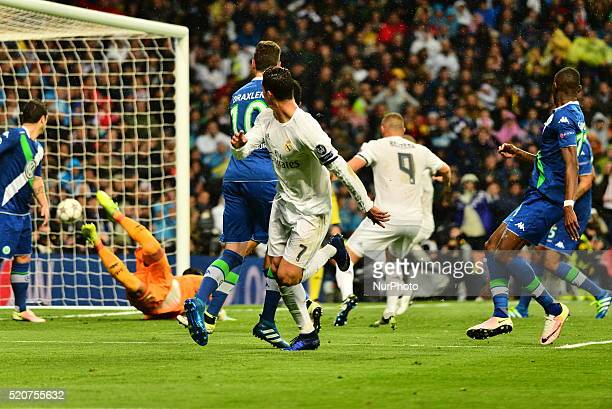 Goal Real Madrid's Portuguese Cristiano Ronaldo in action during Champions League football match Real Madrid vs Wolfsburg at Santiago Bernabeu...