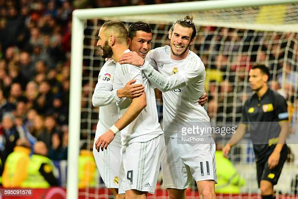 Goal Real Madrid's Welsh Bale and French Benzema and Portuguese Cristiano Ronaldo in action during Spanish Liga football match Real Madrid vs Sevilla...