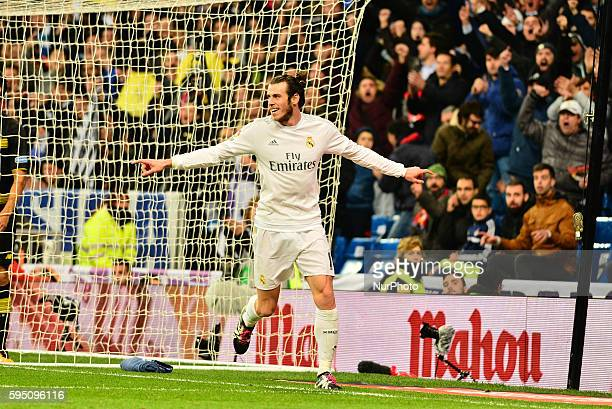 Goal Real Madrid's Welsh Bale in action during Spanish Liga football match Real Madrid vs Sevilla at Santiago Bernabeu stadium in Madrid on March 20...