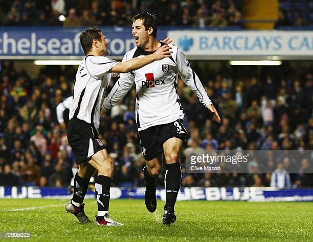 Goal scorer Carlos Bocanegra of Fulham celebrates with Tomasz Radzinski as he scores their second goal during the Barclays Premiership match between...