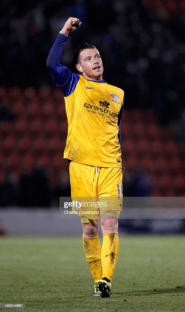 Goal scorer Joe Garner of Preston celebrates at the final whistle during the Sky Bet League One match between Leyton Orient and Preston North End at The Matchroom Stadium on November 16, 2013 in London, England.