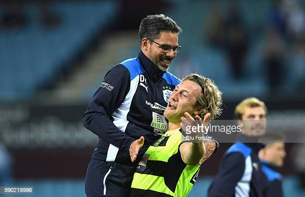 Goal scorer Michael Hefele of Huddersfield Town celebrates with David Wagner Manager of Huddersfield Town during the Sky Bet Championship match...