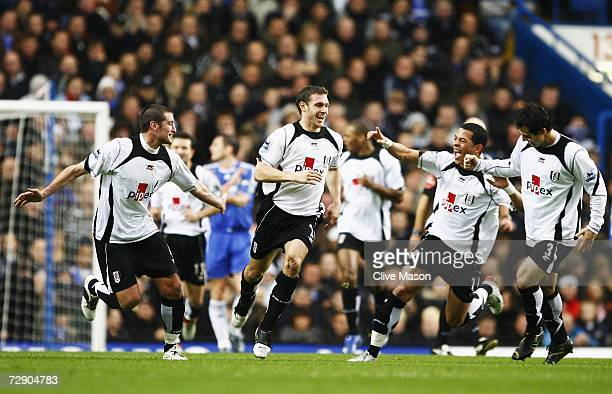 Goal scorer Moritz Volz of Fulham celebrates with team mates during the Barclays Premiership match between Chelsea and Fulham at Stamford Bridge on...