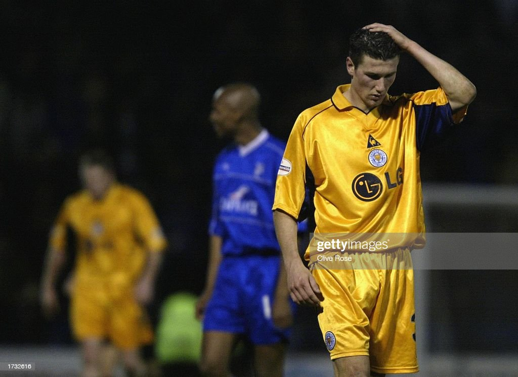 Goal scorer Tom Wright of Leicester is upset at the result after the Nationwide League Division One match between Gillingham and Leicester City at The Priestfield Stadium in Gillingham, on January 18, 2003 in Gillingham, England. (Photo by Clive Rose/Getty Images).
