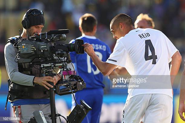 Goal scorer Winston Reid of New Zealand celebrates as his team earn a draw in the 2010 FIFA World Cup South Africa Group F match between New Zealand...