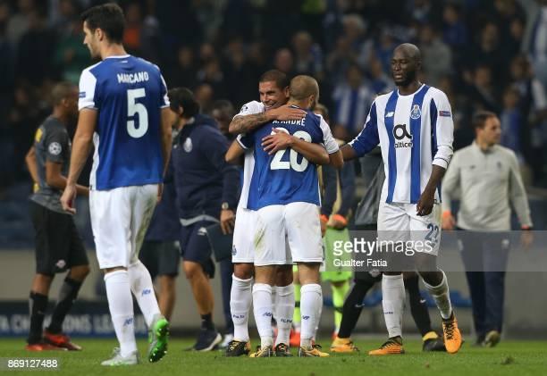 Goal scorers FC Porto defender Maxi Pereira from Uruguay and FC Porto midfielder Danilo Pereira from Portugal celebrate the win with teammate FC...