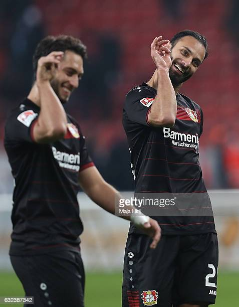 Goal scorers Hakan Calhanoglu and mer Toprak of Leverkusen celebrate after the Bundesliga match between Bayer 04 Leverkusen and Hertha BSC at...