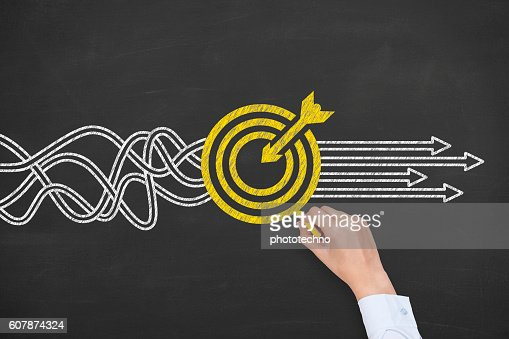 Goal Solution Concept on Blackboard Background : Stock Photo