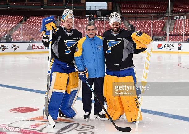 Goal tender coach Jim Corsi Jake Allen and Carter Hutton of the St Louis Blues pose for a picture after practice for the 2017 Bridgestone NHL Winter...