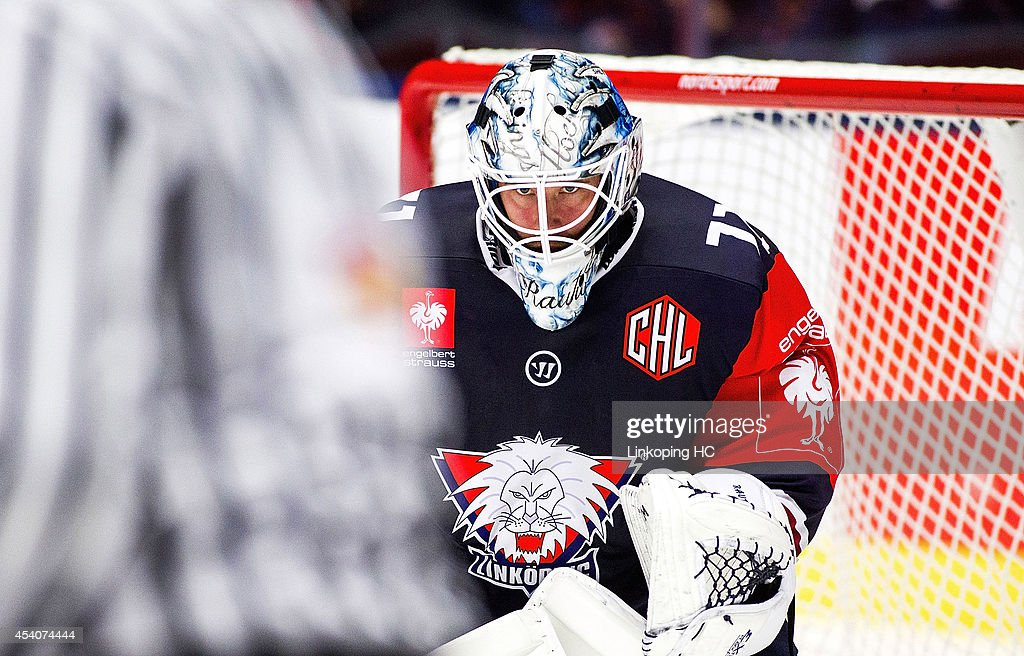 Goal tender David Rautio #71 looks on during the Champions Hockey League group stage game between Linkoping HC and HC Bolzano on August 24, 2014 in Linkoping, Sweden.