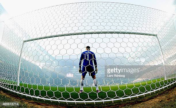 Goaleeper Stephan Andersen of FC Copenhagen stands ready in the goal prior to the Danish Superliga match between FC Copenhagen and Brondby IF at...