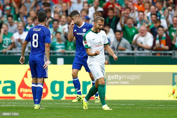 Goalgetter Lennart Thy of Bremen celebration his goal 23 during the preseason friendly match between Werder Bremen and FC Chelsea at Weserstadion on...