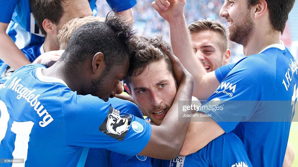 Goalgetter Manuel Farrona-Pulido and his Team of Magdeburg celebration the goal 3:0 for Magdeburg during the Third League match between 1. FC Magdeburg and SG Sonnenhof-Grosssaspach at MDCC-Arena on April 30, 2016 in Magdeburg, Germany.