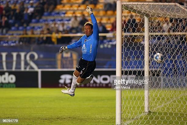 Goalie Adrian Martinez of San Luis fails to defend a kick by Monarcas Morelia during a Mexican championship 2010 Bicentenario match between San Luis...
