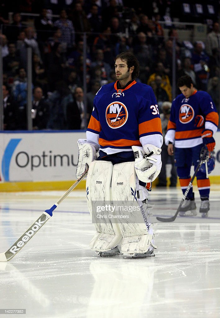 Goalie Al Montoya #35 of the New York Islanders looks on against the Pittsburgh Penguins at Nassau Veterans Memorial Coliseum on March 29, 2012 in Uniondale, New York.
