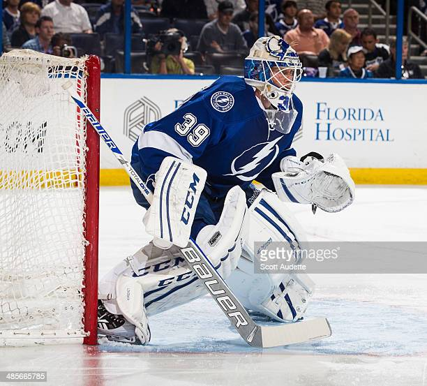 Goalie Anders Lindback of the Tampa Bay Lightning skates against the Montreal Canadiens in Game One of the First Round of the 2014 Stanley Cup...
