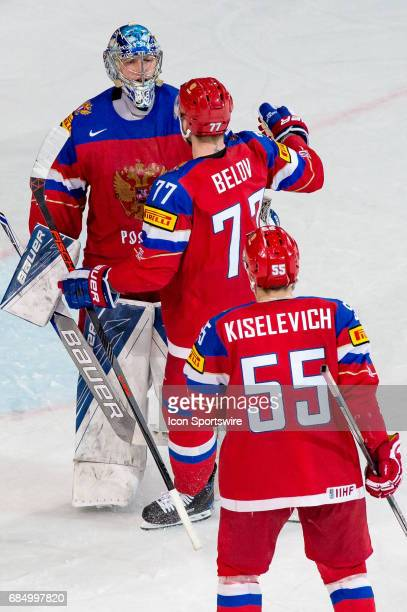 Goalie Andrei Vasilevski #77 Anton Belov and Bogdan Kiselevich celebrates the win over Czech Republic after the Ice Hockey World Championship...