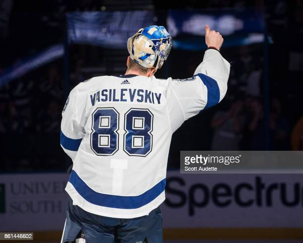 Goalie Andrei Vasilevskiy of the Tampa Bay Lightning celebrates the win against the St Louis Blues at Amalie Arena on October 14 2017 in Tampa Florida