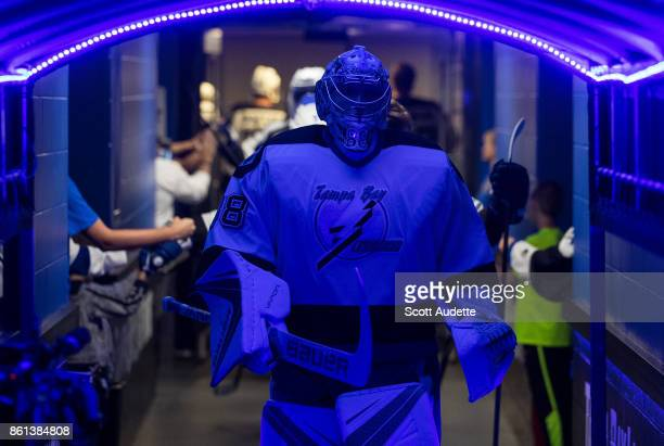 Goalie Andrei Vasilevskiy of the Tampa Bay Lightning dons a 199293 home jersey for pregame warm ups against the St Louis Blues at Amalie Arena on...