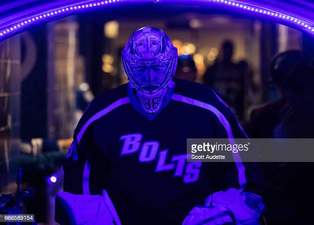 Goalie Andrei Vasilevskiy of the Tampa Bay Lightning gets ready for the game against the Buffalo Sabres at Amalie Arena on April 9 2017 in Tampa...