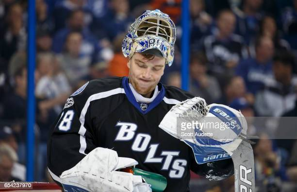 Goalie Andrei Vasilevskiy of the Tampa Bay Lightning reacts to giving up a goal against the Toronto Maple Leafs during the second period at Amalie...