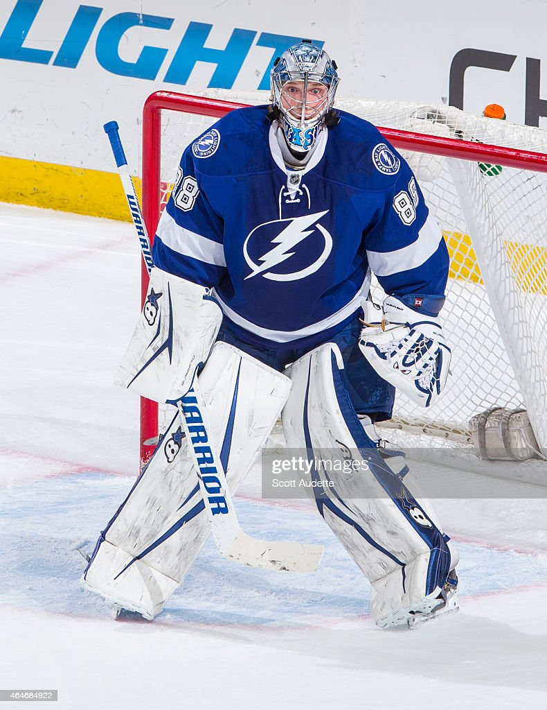 Goalie <a gi-track='captionPersonalityLinkClicked' href=/galleries/search?phrase=Andrei+Vasilevskiy+-+Ice+Hockey+Player&family=editorial&specificpeople=9594320 ng-click='$event.stopPropagation()'>Andrei Vasilevskiy</a> #88 of the Tampa Bay Lightning skates against the St. Louis Blues during the third period at the Amalie Arena on February 12, 2015 in Tampa, Florida.