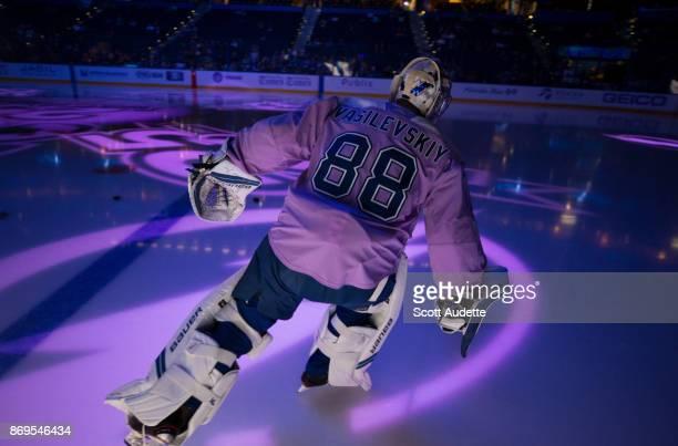 Goalie Andrei Vasilevskiy of the Tampa Bay Lightning skates against the New York Rangers during the pregame warm ups at Amalie Arena on November 2...