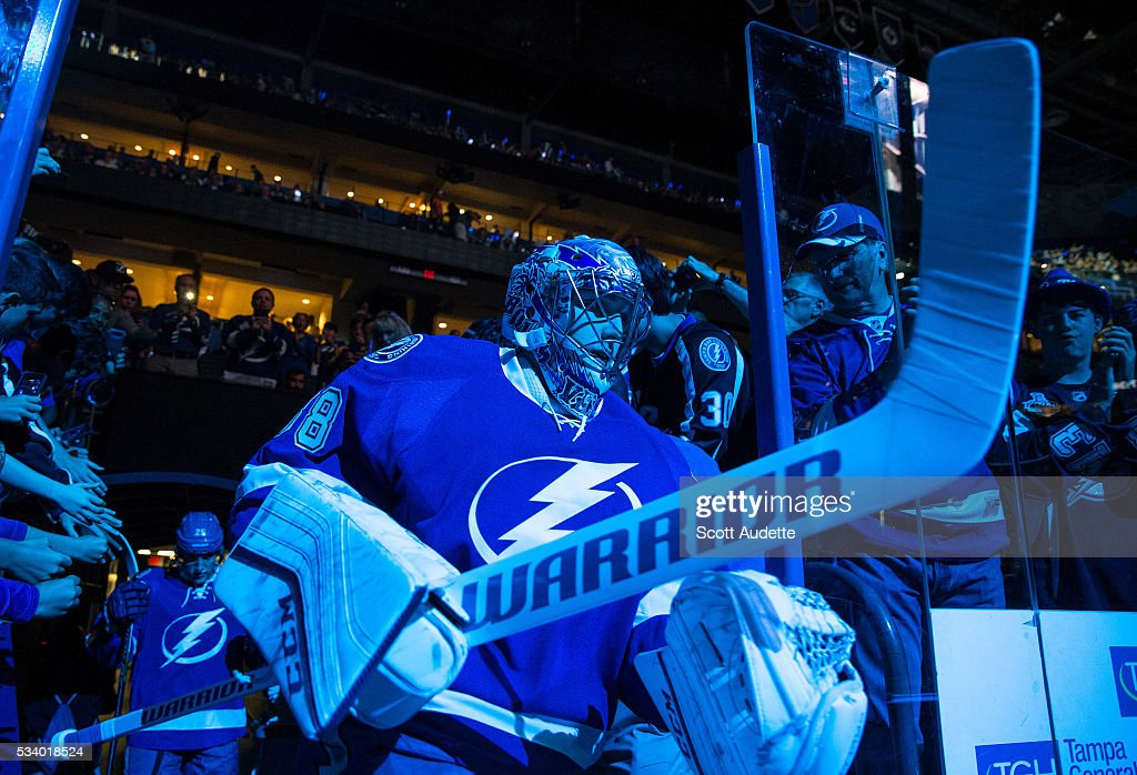 Goalie <a gi-track='captionPersonalityLinkClicked' href=/galleries/search?phrase=Andrei+Vasilevskiy+-+Ishockeyspelare&family=editorial&specificpeople=9594320 ng-click='$event.stopPropagation()'>Andrei Vasilevskiy</a> #88 of the Tampa Bay Lightning steps out to the ice against the Pittsburgh Penguins before Game Six of the Eastern Conference Finals in the 2016 NHL Stanley Cup Playoffs at the Amalie Arena on May 24, 2016 in Tampa, Florida.