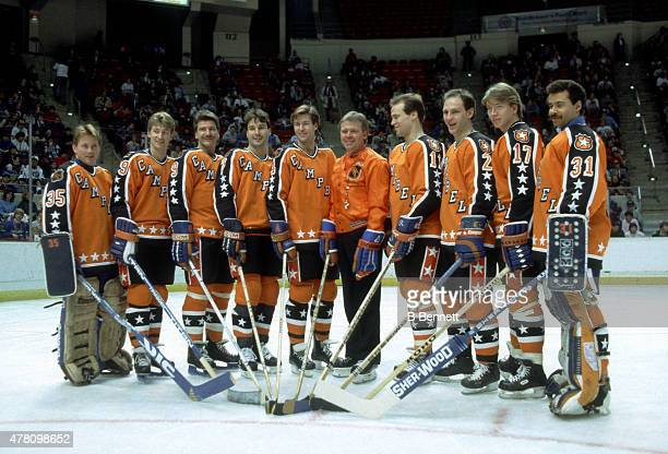 Goalie Andy Moog Wayne Gretzky Glenn Anderson Paul Coffey Kevin Lowe head coach Glen Sather Mark Messier Lee Fogolin Jari Kurri and goalie Grant Fuhr...