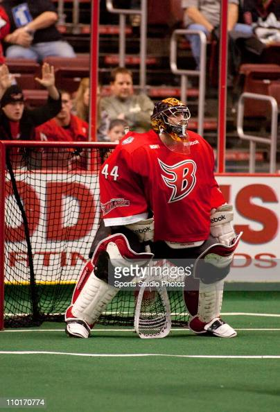 Goalie Anthony Cosmo of the Boston Blazers defends the goal during the game against the Philadelphia Wings on January 8 2011 in Philadelphia...