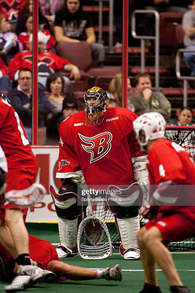 Goalie Anthony Cosmo #44 of the Boston Blazers defends the goal during the game against the Philadelphia Wings on January 8, 2011 in Philadelphia, Pennsylvania. The Boston Blazers defeated the Philadelphia Wings 10-6.