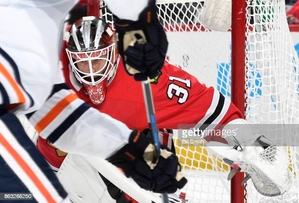 Goalie Anton Forsberg of the Chicago Blackhawks guards the net against the Edmonton Oilers in the second period at the United Center on October 19...