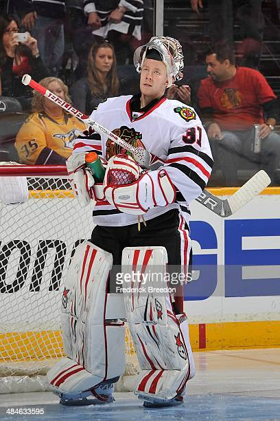 Goalie Antti Raanta plays against the Nashville Predators at Bridgestone Arena on April 12 2014 in Nashville Tennessee