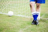 Goalie at soccer goal