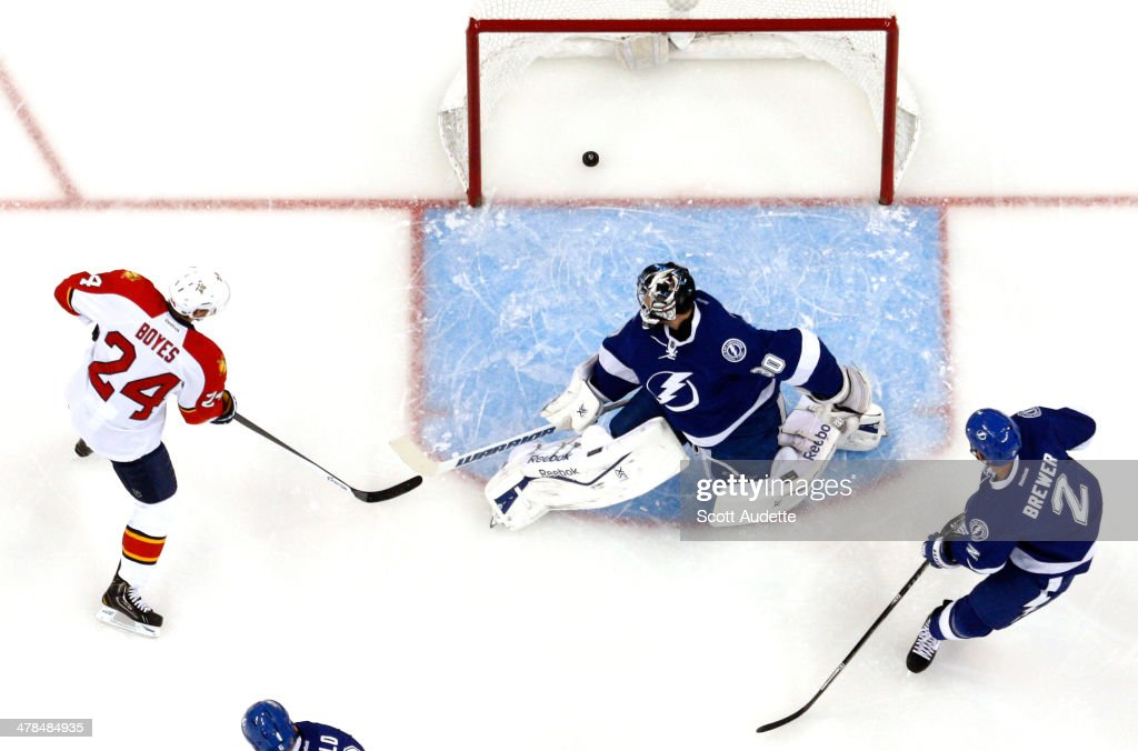 Goalie <a gi-track='captionPersonalityLinkClicked' href=/galleries/search?phrase=Ben+Bishop&family=editorial&specificpeople=700137 ng-click='$event.stopPropagation()'>Ben Bishop</a> #30 and <a gi-track='captionPersonalityLinkClicked' href=/galleries/search?phrase=Eric+Brewer&family=editorial&specificpeople=202144 ng-click='$event.stopPropagation()'>Eric Brewer</a> #2 of the Tampa Bay Lightning and <a gi-track='captionPersonalityLinkClicked' href=/galleries/search?phrase=Brad+Boyes&family=editorial&specificpeople=275014 ng-click='$event.stopPropagation()'>Brad Boyes</a> #24 of the Florida Panthers watch the puck go into the net for a goal during the first period at the Tampa Bay Times Forum on March 13, 2014 in Tampa, Florida.