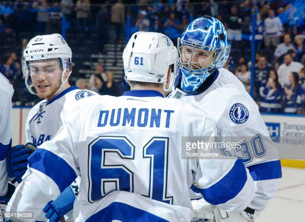 Goalie Ben Bishop and Gabriel Dumont of the Tampa Bay Lightning celebrate the win against the Los Angeles Kings at Amalie Arena on February 7 2017 in...