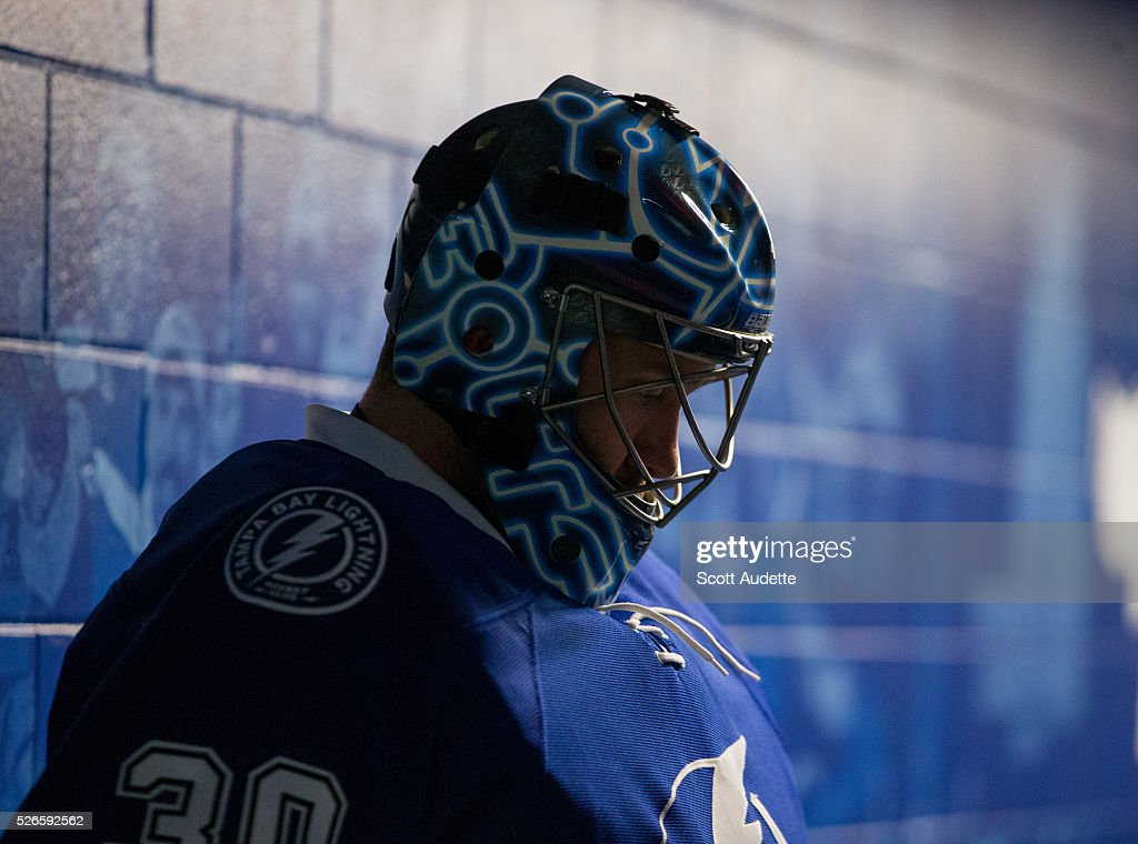 Goalie <a gi-track='captionPersonalityLinkClicked' href=/galleries/search?phrase=Ben+Bishop&family=editorial&specificpeople=700137 ng-click='$event.stopPropagation()'>Ben Bishop</a> #30 of the Tampa Bay Lightning gets ready for the game against the New York Islanders before Game Two of the Eastern Conference Second Round in the 2016 NHL Stanley Cup Playoffs at the Amalie Arena on April 30, 2016 in Tampa, Florida.