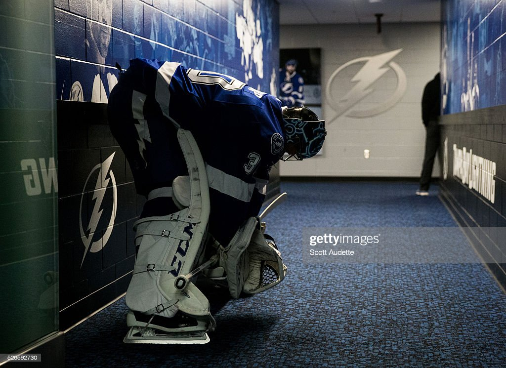 Goalie Ben Bishop #30 of the Tampa Bay Lightning gets ready for the game against the New York Islanders before Game Two of the Eastern Conference Second Round in the 2016 NHL Stanley Cup Playoffs at the Amalie Arena on April 30, 2016 in Tampa, Florida.