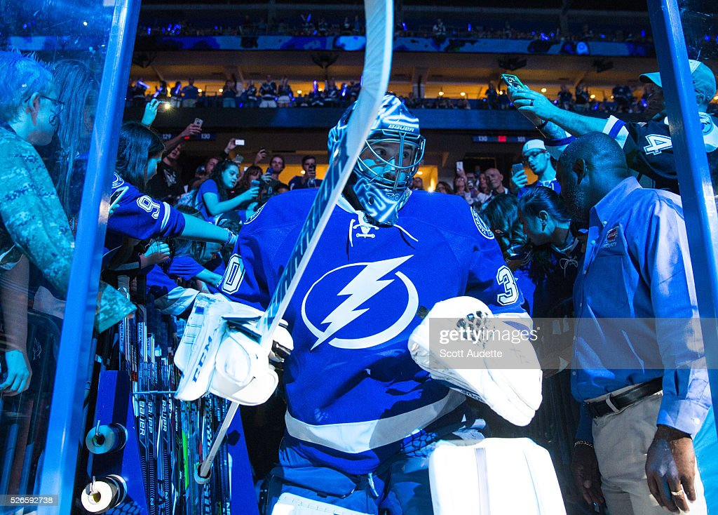 Goalie <a gi-track='captionPersonalityLinkClicked' href=/galleries/search?phrase=Ben+Bishop&family=editorial&specificpeople=700137 ng-click='$event.stopPropagation()'>Ben Bishop</a> #30 of the Tampa Bay Lightning steps out to the ice for the pregame warm ups against the New York Islanders before Game Two of the Eastern Conference Second Round in the 2016 NHL Stanley Cup Playoffs at the Amalie Arena on April 30, 2016 in Tampa, Florida.