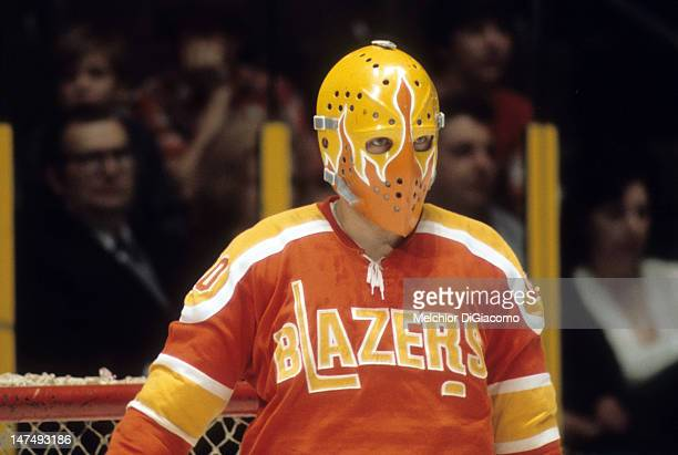 Goalie Bernie Parent of the Philadelphia Blazers defends the net during an WHA game circa 1973