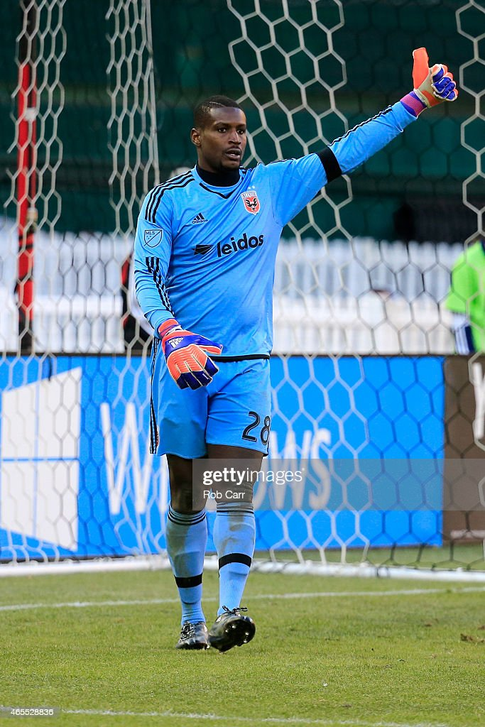 Goalie <a gi-track='captionPersonalityLinkClicked' href=/galleries/search?phrase=Bill+Hamid&family=editorial&specificpeople=4417249 ng-click='$event.stopPropagation()'>Bill Hamid</a> #28 of D.C. United celebrates after making a second half stop against the Montreal Impact during their 1-0 win at RFK Stadium on March 7, 2015 in Washington, DC.