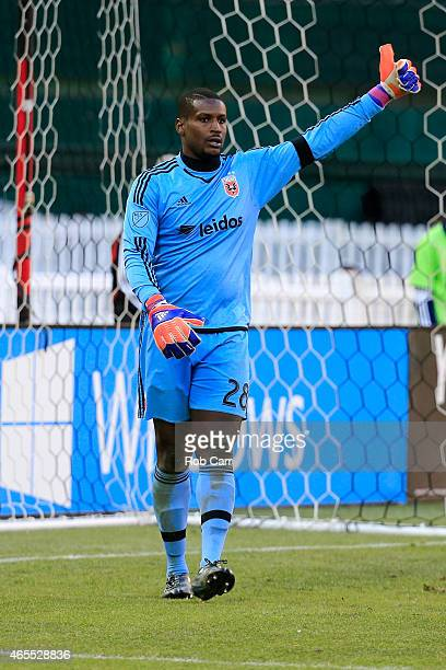 Goalie Bill Hamid of DC United celebrates after making a second half stop against the Montreal Impact during their 10 win at RFK Stadium on March 7...