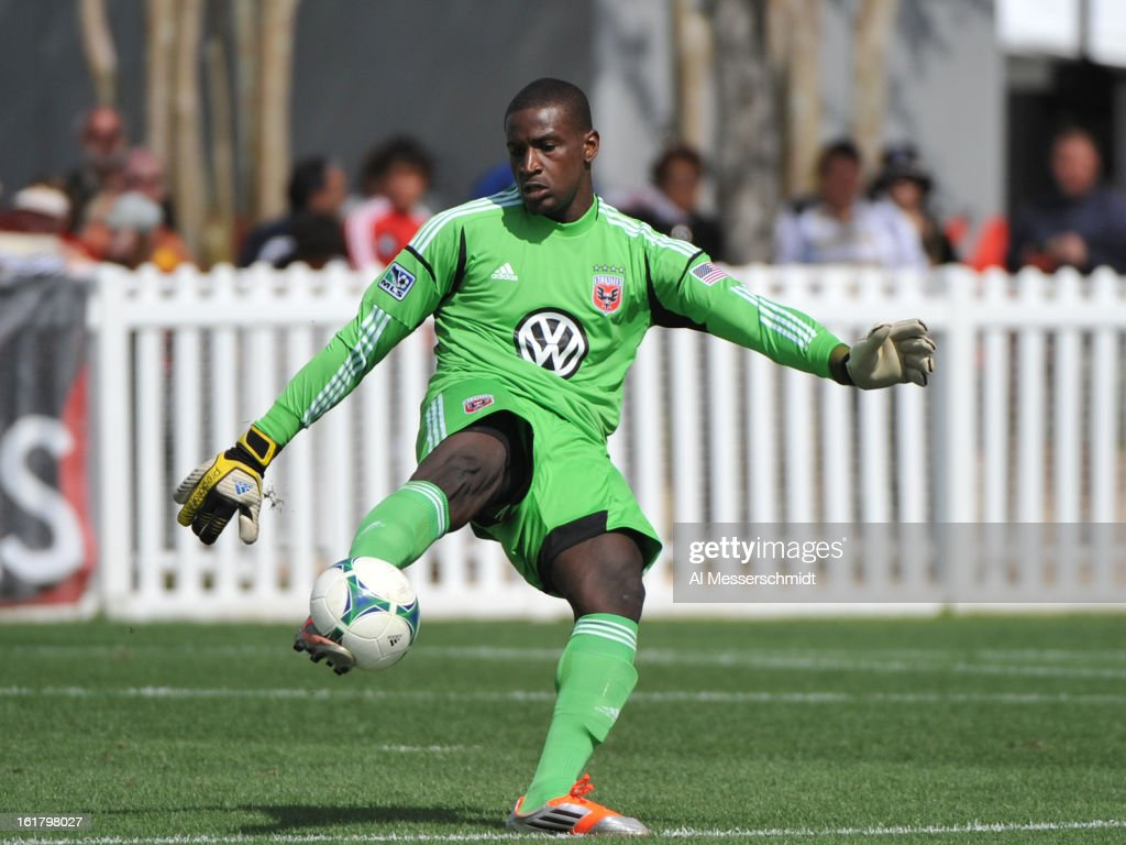 Goalie Bill Hamid #28 of DC United kicks upfield against the Montreal Impact February 16, 2013 in the third round of the Disney Pro Soccer Classic in Orlando, Florida.