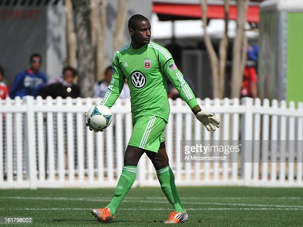 Goalie Bill Hamid of DC United sets for play against the Montreal Impact February 16 2013 in the third round of the Disney Pro Soccer Classic in...