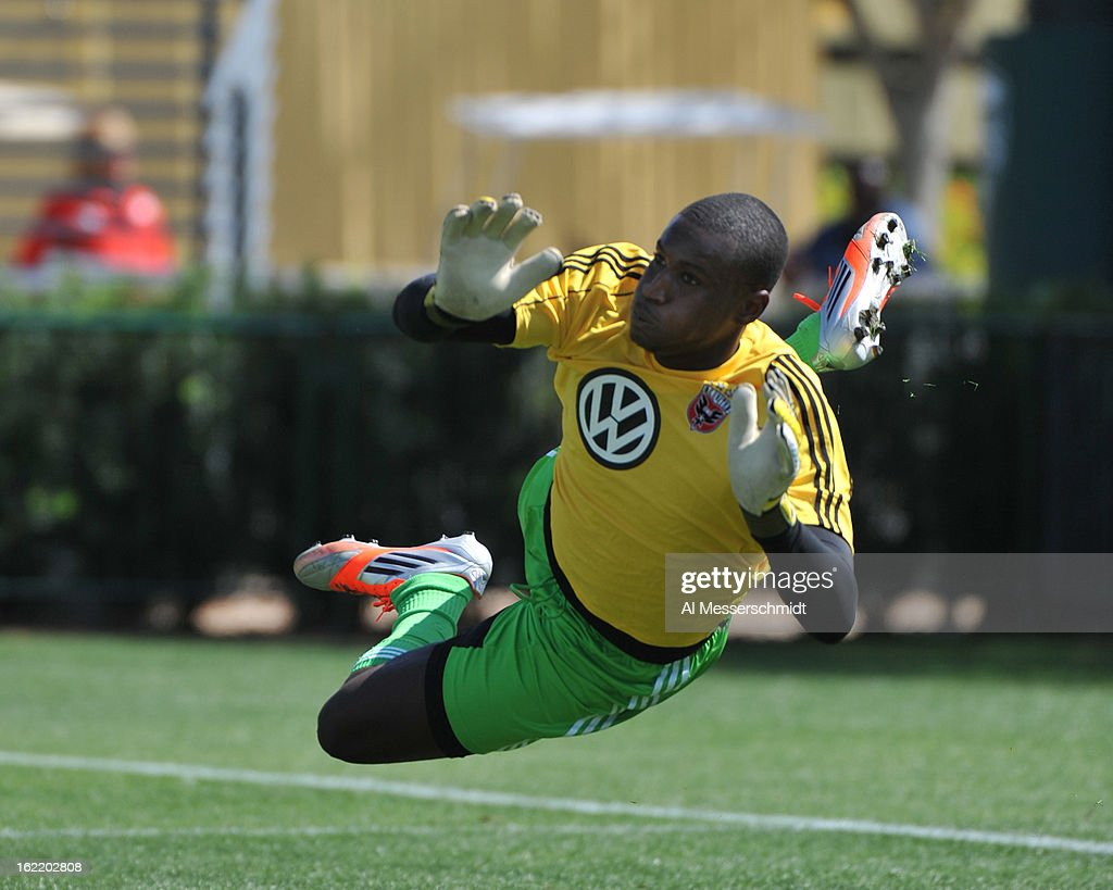 Goalie Bill Hamid #28 of DC United warms up for play against the Montreal Impact February 16, 2013 in the third round of the Disney Pro Soccer Classic in Orlando, Florida.