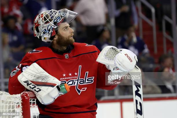 Goalie Braden Holtby of the Washington Capitals looks on after giving up a third period goal against the Toronto Maple Leafs at Capital One Arena on...