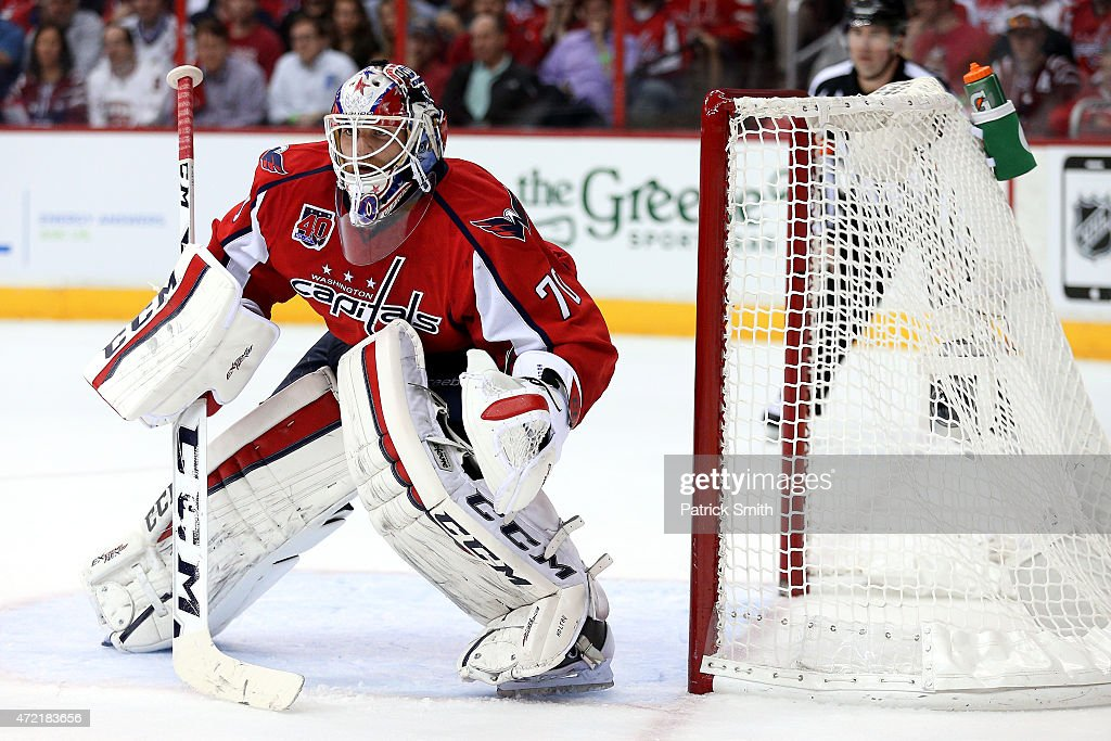 Goalie <a gi-track='captionPersonalityLinkClicked' href=/galleries/search?phrase=Braden+Holtby&family=editorial&specificpeople=5370964 ng-click='$event.stopPropagation()'>Braden Holtby</a> #70 of the Washington Capitals looks to make a save against the New York Rangers during the second period in Game Three of the Eastern Conference Semifinals during the 2015 NHL Stanley Cup Playoffs at Verizon Center on May 4, 2015 in Washington, DC. The Washington Capitals won, 1-0.