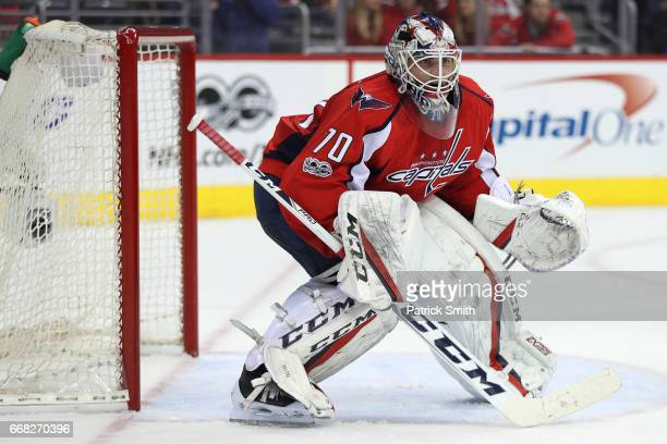Goalie Braden Holtby of the Washington Capitals tends the net against the Toronto Maple Leafs in the first period in Game One of the Eastern...