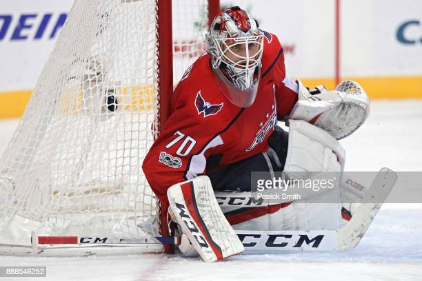 Goalie Braden Holtby of the Washington Capitals tends the net against the Chicago Blackhawks during the third period at Capital One Arena on December...