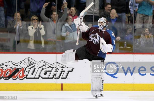 Goalie Brian Elliott of the Colorado Avalanche celebrates after Derick Brassard of the Columbus Blue Jackets missed the final shot during their...